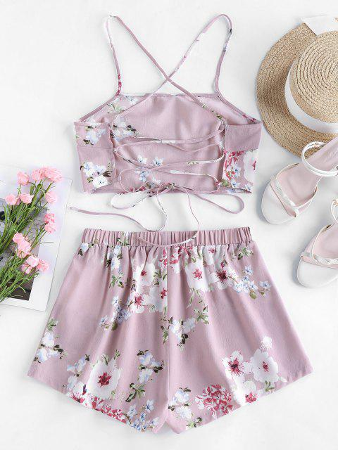 outfit Lace Up Strappy Floral Print Two Piece Set - PIG PINK S Mobile