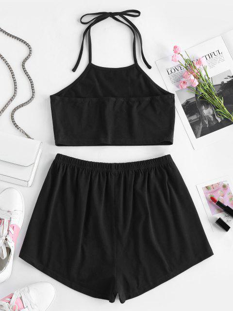 online ZAFUL Rose Flower Halter Tie Two Piece Set - BLACK S Mobile