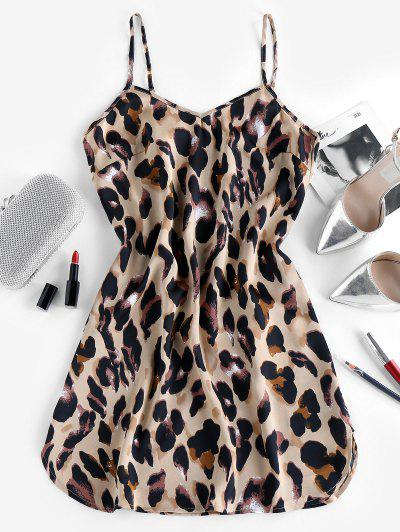 ZAFUL Leopard Animal Print Slit Cami Dress - Tan S