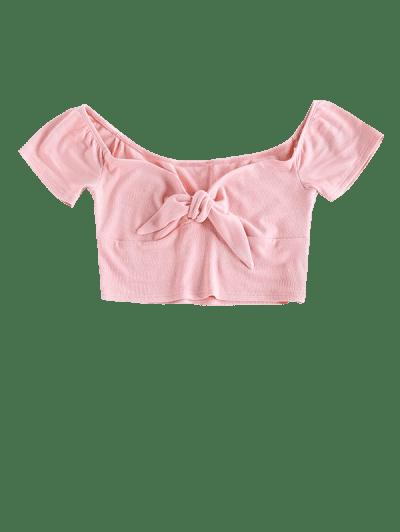 ZAFUL Ribbed Sweetheart Tied Crop T-shirt