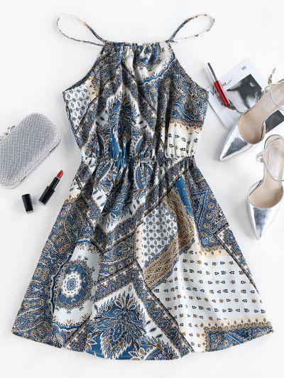 ZAFUL Bohemian Cutaway Mini Dress - Blue Gray M