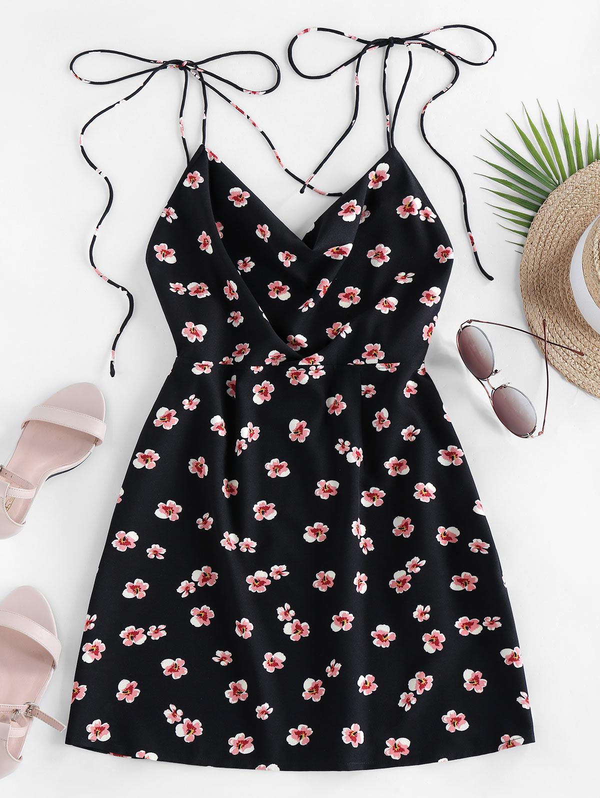 ZAFUL Ditsy Print Tie Shoulder Backless Dress