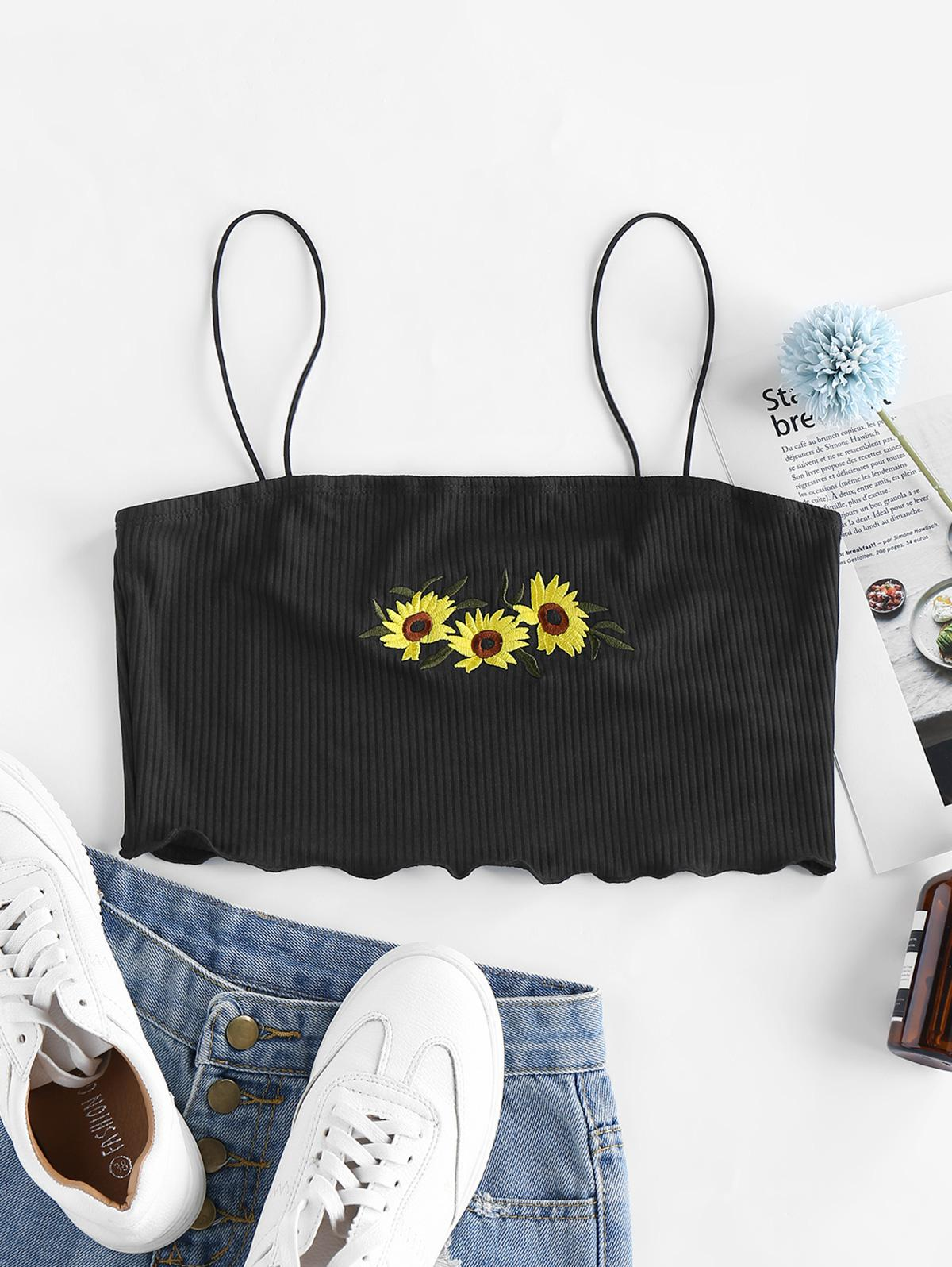 ZAFUL Sunflower Embroidered Ribbed Crop Cami Top