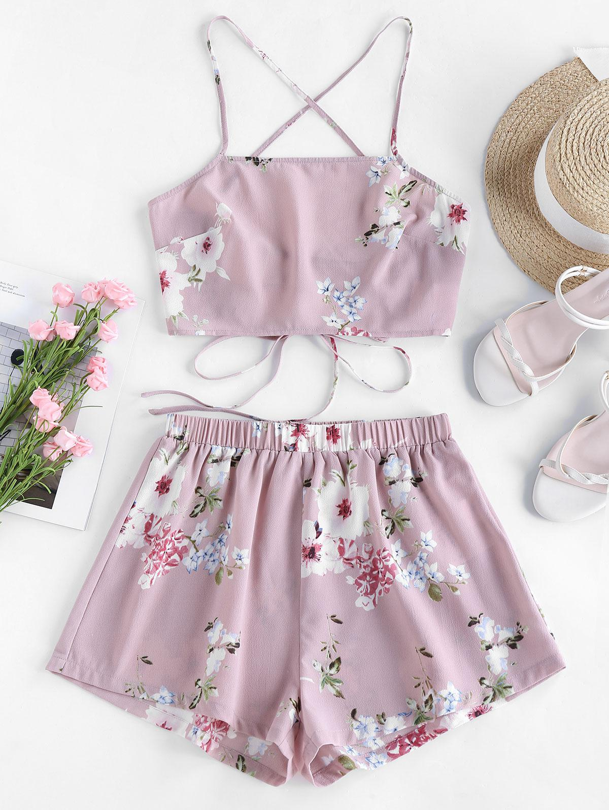 Lace Up Strappy Floral Print Two Piece Set
