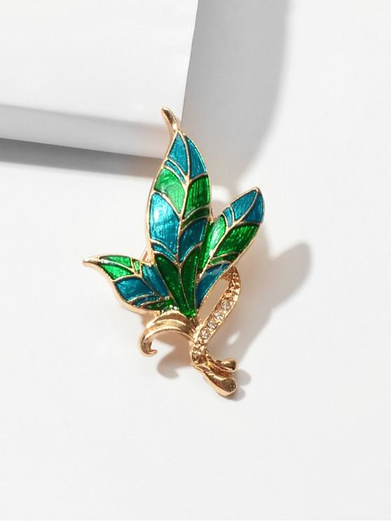 buy Glazed Leaf Rhinestone Brooch - DEEP GREEN