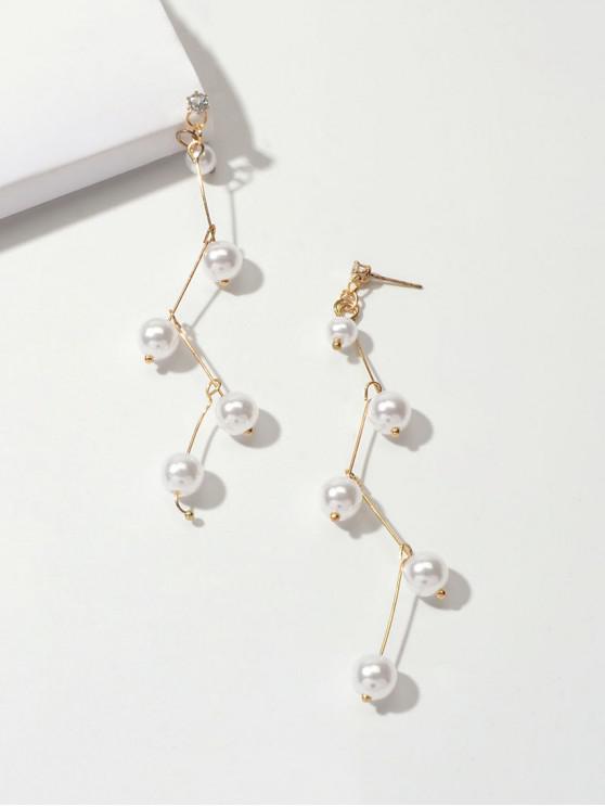 Pendientes cuelga el colgante de perlas de imitación - Blanco