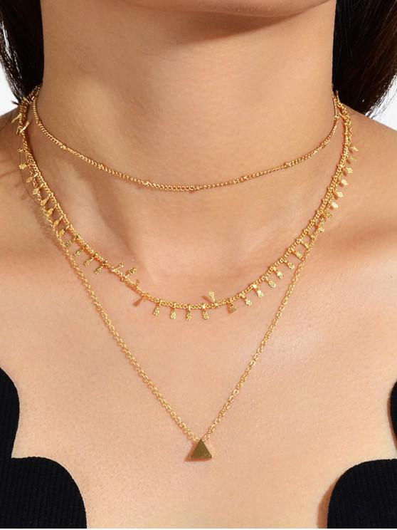 women Triangle Pendant Layers Necklace - GOLD