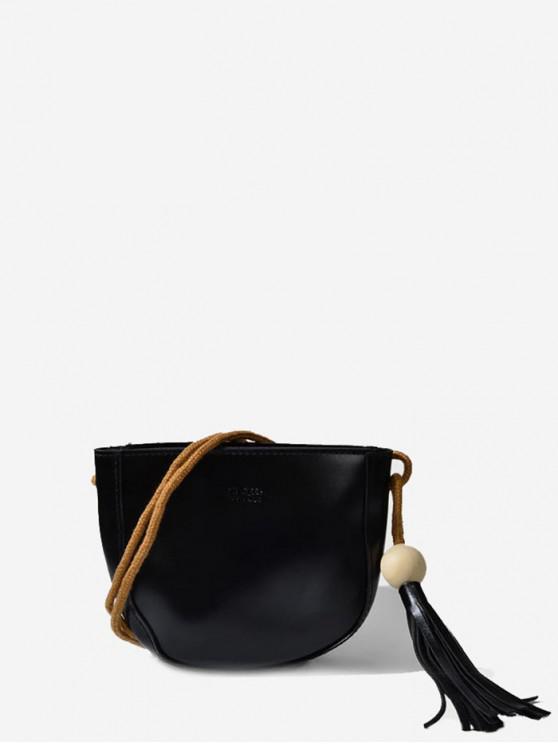 lady Zip PU Tassel Solid Crossbody Bag - BLACK