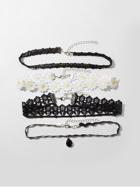 online 4Pcs Floral Choker Necklace Set - BLACK