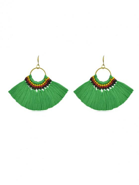 hot Bohemian Sector Fringe Drop Earrings - GREEN