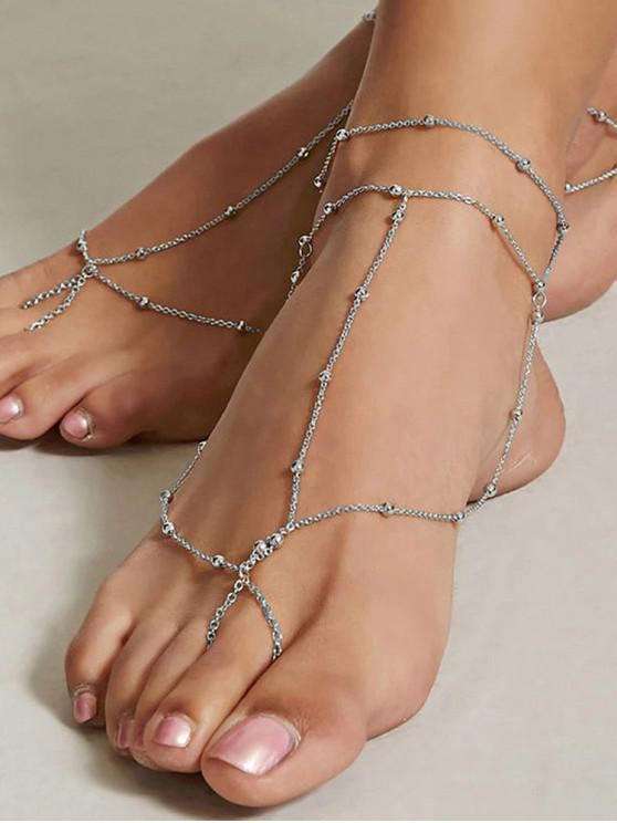 outfits Beach Chain Toe Ring Anklet - SILVER