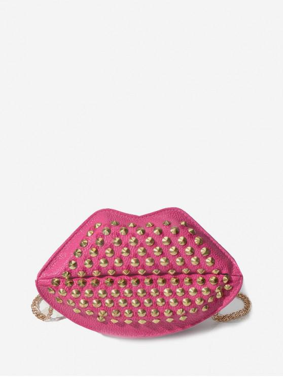 shop Chain Mouth Shape Rivet Shoulder Bag - ROSE RED