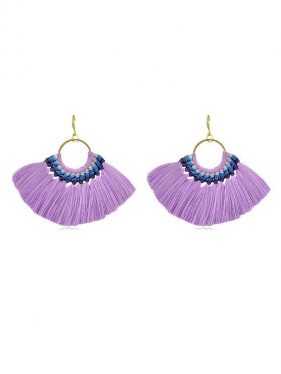 fancy Bohemian Sector Fringe Drop Earrings - PURPLE