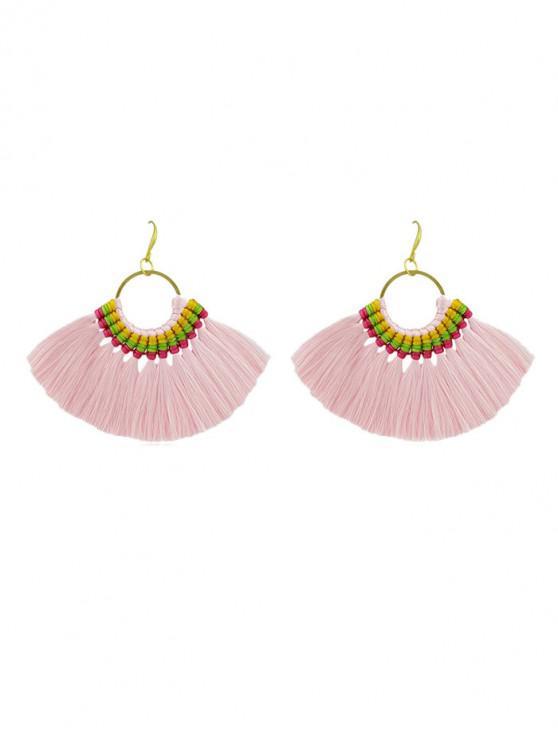 unique Bohemian Sector Fringe Drop Earrings - LIGHT PINK