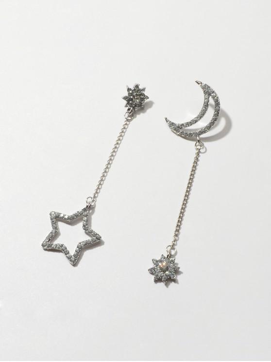 Pendientes Huecos de Diamantes de Imitación de Luna de Estrella - Plata