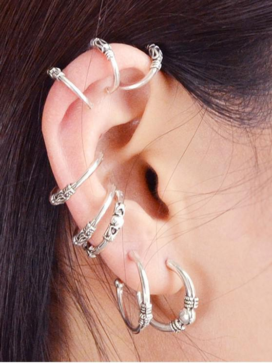 hot 8Pcs Retro Engraved Earrings Set - SILVER
