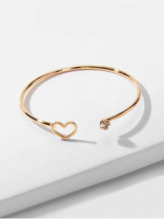 Cuore della cavità del braccialetto del Rhinestone Aperto - Oro