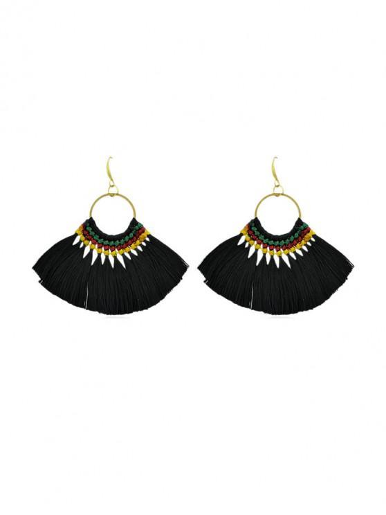 fashion Bohemian Sector Fringe Drop Earrings - BLACK
