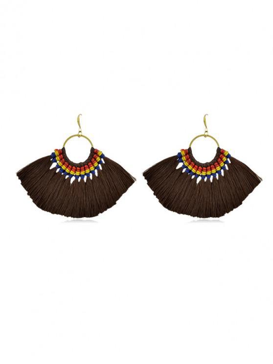 outfit Bohemian Sector Fringe Drop Earrings - COFFEE
