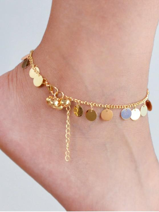 trendy Alloy Disk Chain Anklet - GOLD