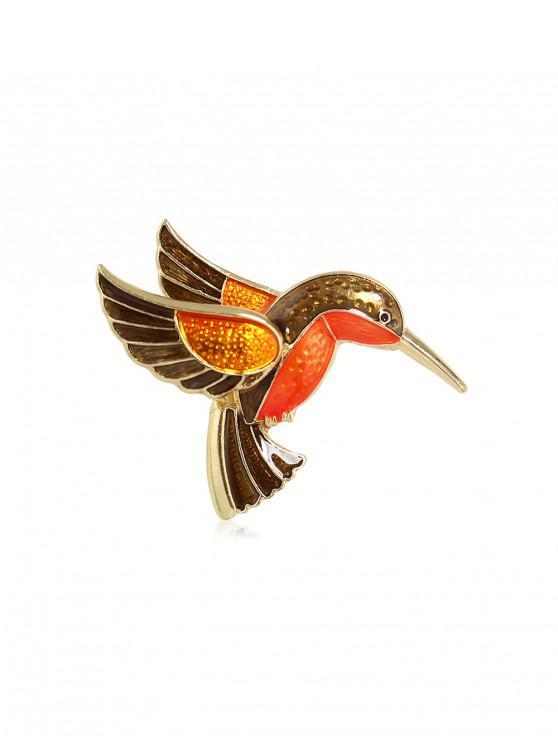 chic Bird Shape Glazed Alloy Brooch - BROWN