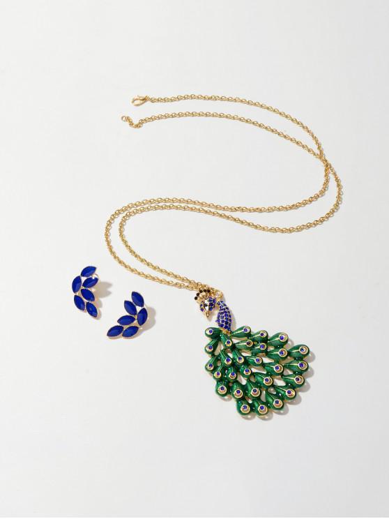 Pluma del pavo real del collar pendientes - Azul Cobalto