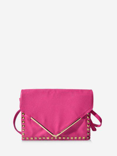 Rivet Envelope Clutch Bag - Rose Red
