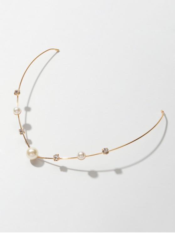 Accesorio Pelo Brillantes Perla Artificial - Oro