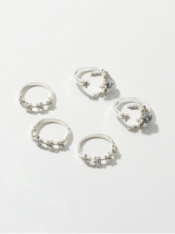 5Pcs Stella Luna strass Ring Set - Argento