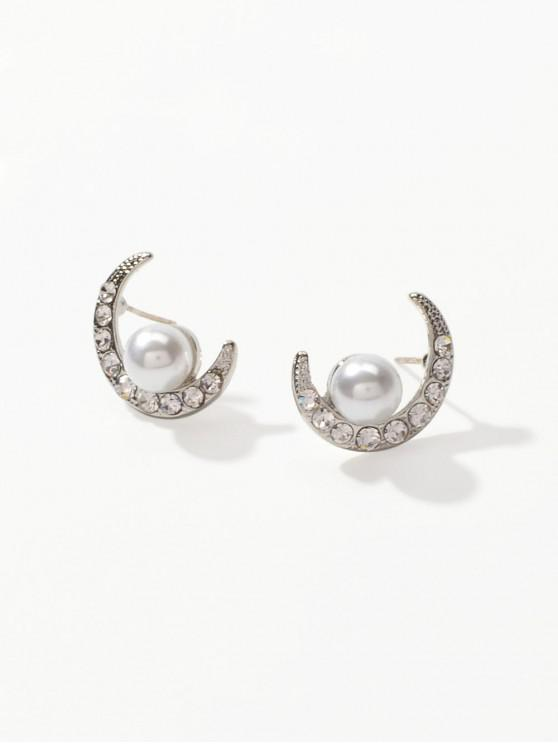 new Moon Rhinestone Pearl Earrings - SILVER