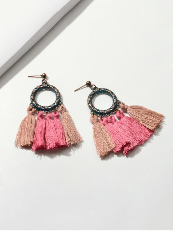 outfit Ethnic Circle Tassel Drop Earrings - LIGHT PINK