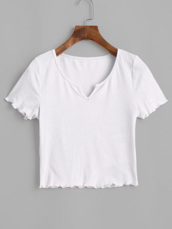 chic ZAFUL Ribbed Lettuce Trim Cropped Tee - WHITE XL