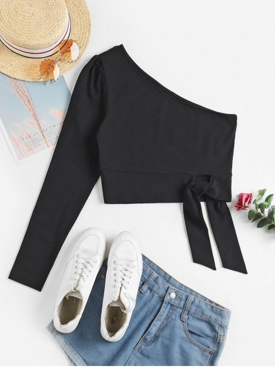 online ZAFUL One Shoulder Knotted Crop Tee - BLACK XL