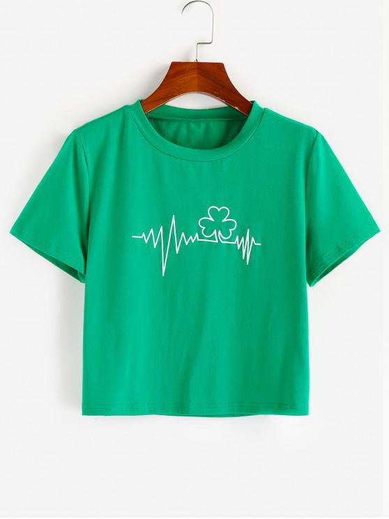 ZAFUL Graphic ECG Print Cropped T Shirt - البرسيم الأخضر XL