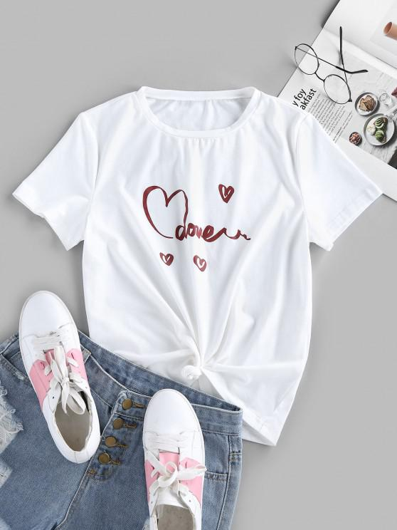 womens ZAFUL Knotted Heart Print Graphic Tee - WHITE M