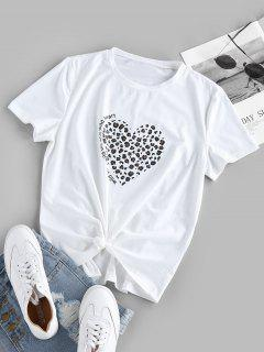 ZAFUL Leopard Heart Print Knotted Graphic T Shirt - White S