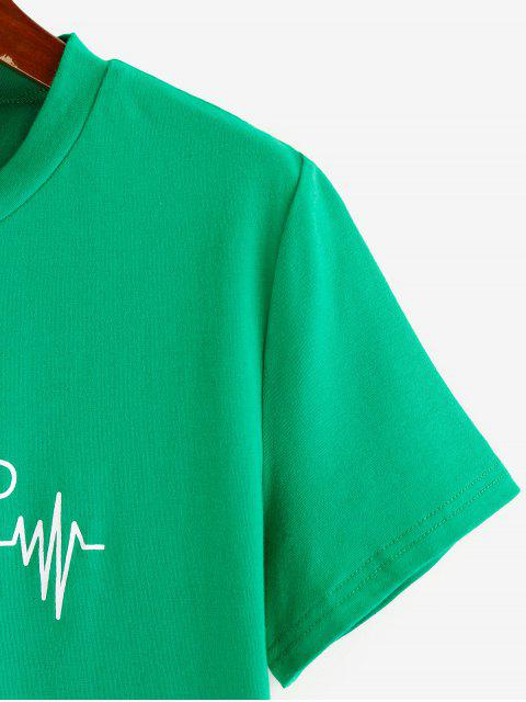best ZAFUL Graphic ECG Print Cropped T Shirt - CLOVER GREEN XL Mobile