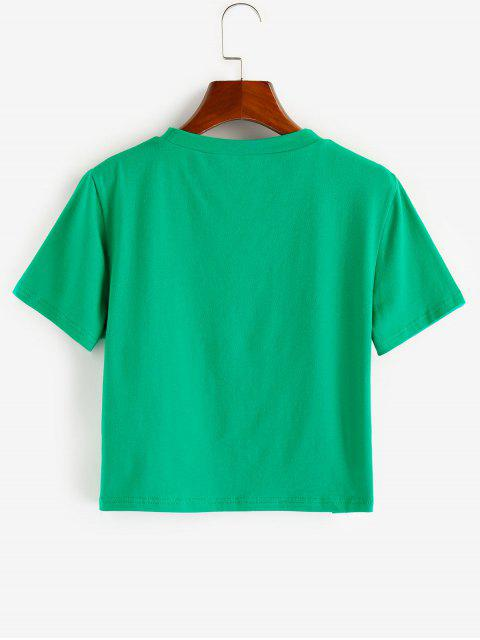 ZAFUL Top Barriga de Fora com Estampa Gráfica - Verde de Trevo XL Mobile