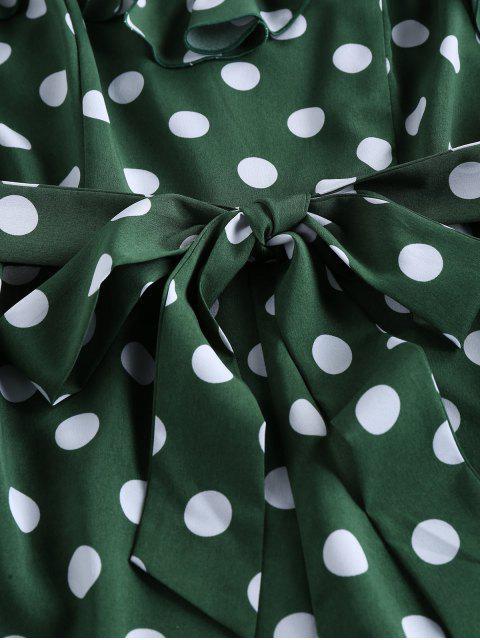 women's ZAFUL Flounce Polka Dot Cami Romper - DARK GREEN L Mobile