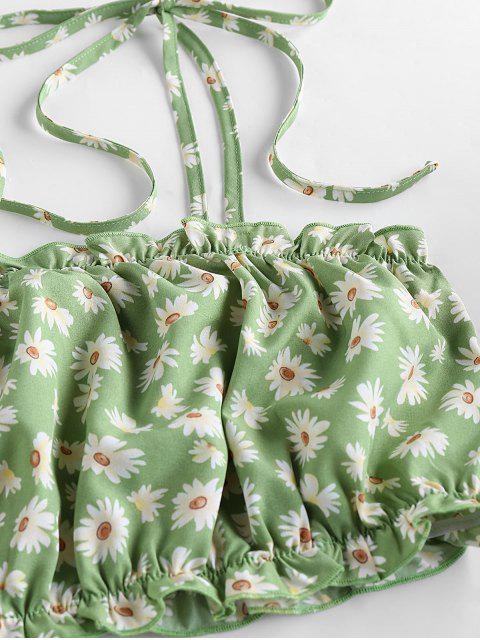 womens ZAFUL Ditsy Print Co Ord Set - PISTACHIO GREEN S Mobile