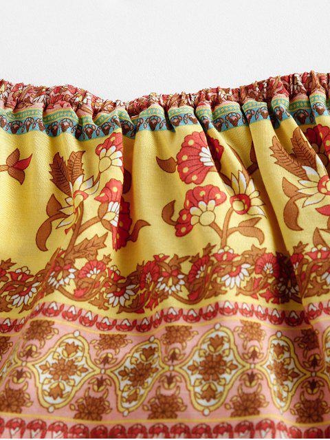 women's ZAFUL Ruffled Floral Print Off Shoulder Romper - FLAMINGO PINK S Mobile