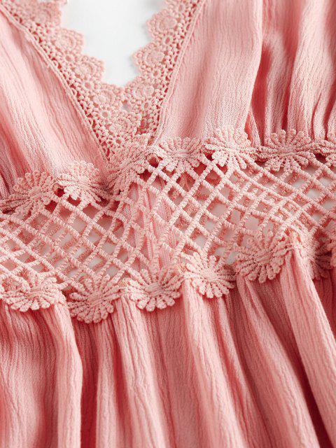 unique ZAFUL Lace Crochet Crisscross Romper - PINK ROSE S Mobile