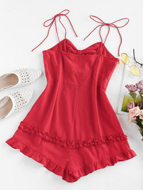 ladies ZAFUL Bowknot Tie Shoulder Flounce Romper - CHERRY RED S Mobile