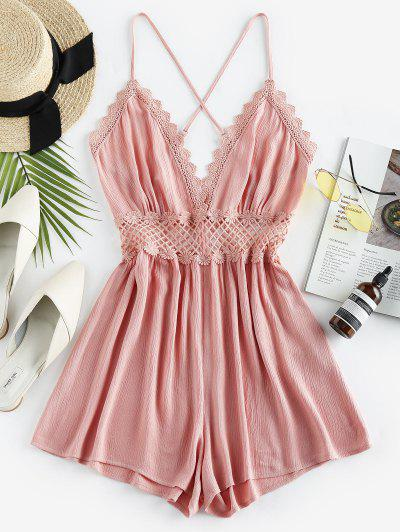 ZAFUL Lace Crochet Crisscross Romper - Pink Rose S