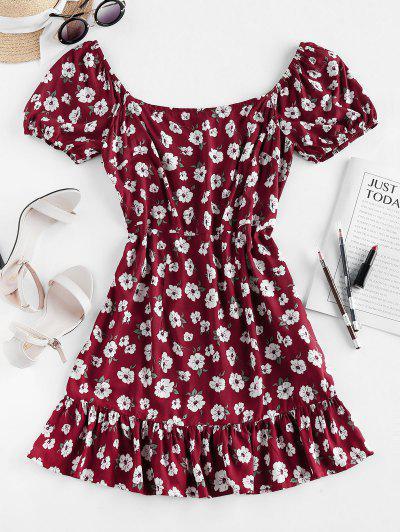 ZAFUL Floral Print Flounce Mini Dress - Red Wine M