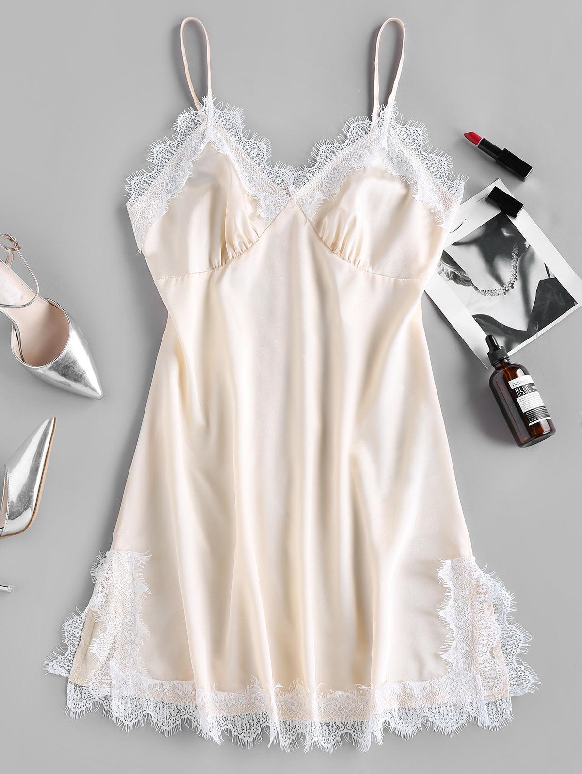 ZAFUL Eyelash Lace Cami Sleepwear Dress