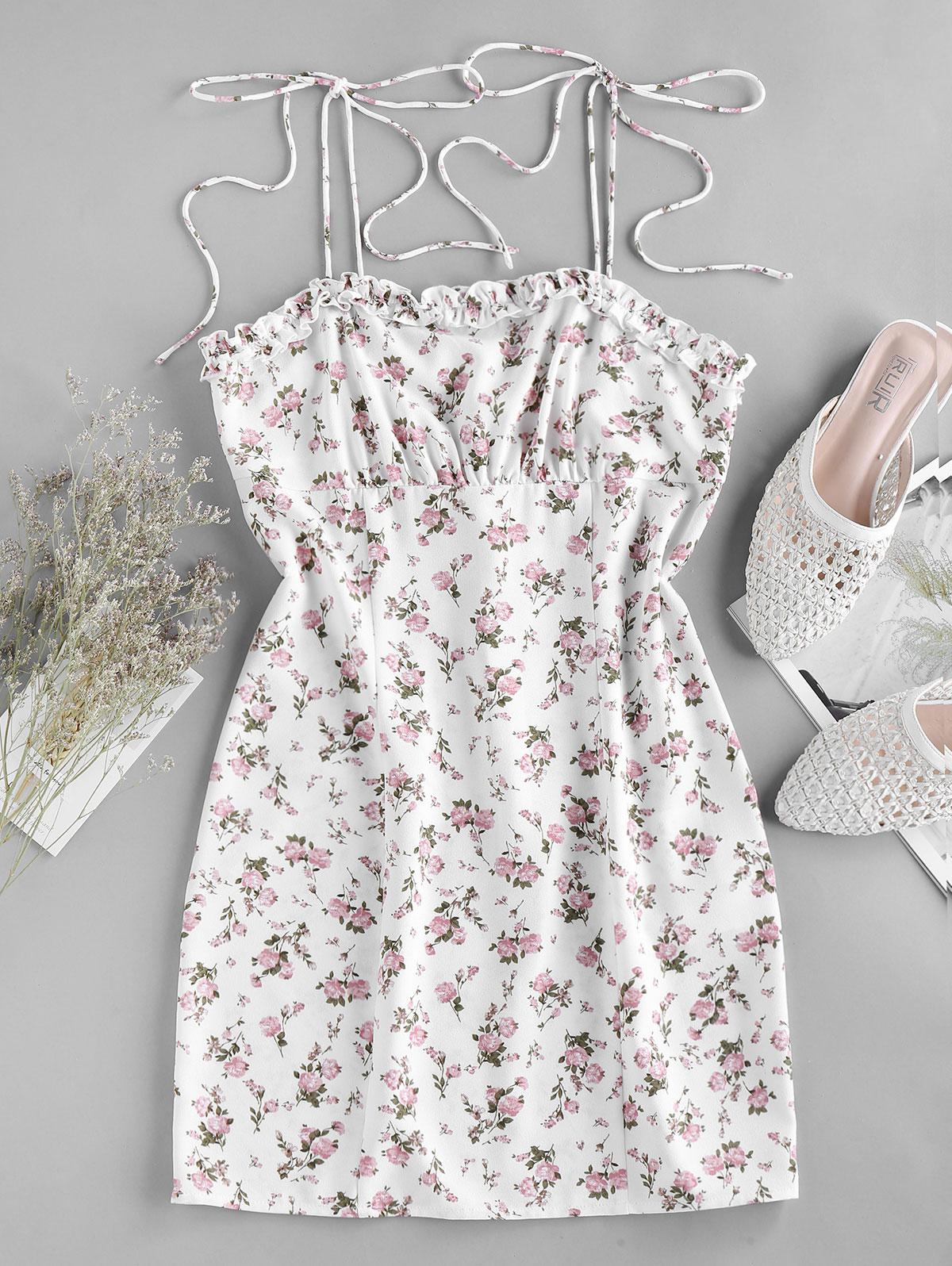 ZAFUL Ditsy Print Tie Shoulder Bodycon Dress