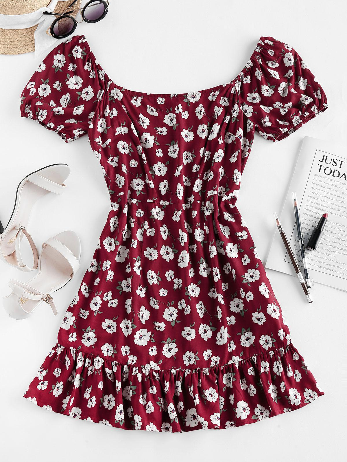 ZAFUL Floral Print Flounce Mini Dress