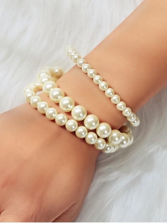 3pcs Conjunto de Brazalete con Cuentas de Perlas de Imitación - Blanco