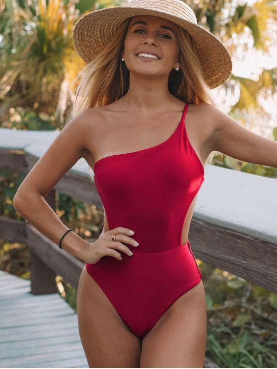 womens ZAFUL Lustrous One Shoulder Backless One-piece Swimsuit - RED WINE M